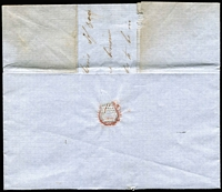 "Lot 1085 [2 of 2]:1850 (Jun 3) stampless cover with mss ""Fingal 3/6/50"" endorsement, to Launceston, rated ""4"" in black. The letter discusses the proposed sale of kangaroo skins."