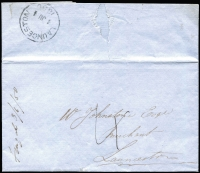 "Lot 1085 [1 of 2]:1850 (Jun 3) stampless cover with mss ""Fingal 3/6/50"" endorsement, to Launceston, rated ""4"" in black. The letter discusses the proposed sale of kangaroo skins."