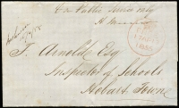 "Lot 1229:1855 (Apr 16) stampless On Public Service Only outer to Hobart, fine red framed '[crown]/FREE/17AP17/1855' on face, mss postmark of ""Bothwell/16//4/55"" also on face. [Sent by the Inspector of Schools, who was entitled to free postage.]"