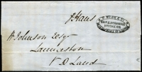 Lot 1231:1858 (May 11) inwards stampless letter from Distillery in London to Launceston, delivered by hand. Fine double-oval 'R. WEBB & CO/SHIP & INSURANCE/BROKERS/LEADEN