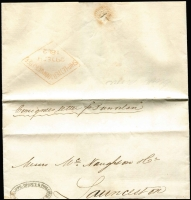 "Lot 1235:1862 (Aug 22) inwards stampless entire endorsed Consignees letter p ""Dunorlan"" from London to Launceston. The 1853 act exempted consignee's letters from postage when identified and accompanying the shipment. Launceston arrival of DE29/1862. fine double-circle 'PHILLIPPS, GRAVES & PHILLIPS/LONDON' handstamp on face."