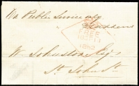 Lot 1236:1862 (Sep 18) stampless On Public Service Only local entire from the Inspector of Schools North, advising of a school board meeting. Red diamond '[crown]/FREE/18SP18/1862' on face.