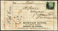 Lot 1237:1867 (Apr 12) Book Post label from London to Great Swanport with GB 1/- green plate 4 (Cat £450 on cover). Hobart Ship Letter Inwards Free handstamp of 13JU13/1867 on face.