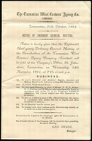 Lot 1087 [2 of 2]:1894 (Oct 25) use of 1d Sideface (printed matter rate) on Half Yearly report of the Tasmanian Wool growers... from Launceston to Forth, includes notice of ordinary general meeting.