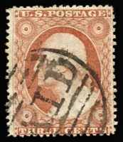 Lot 1868:1857-61 Perf 15-15½ Sc #26 3c orange-brown, Type III with side frames extending through stamp, Sc #26, Cat $550.