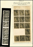 Lot 1096 [3 of 3]:1863-87 6d Laureates lightly populated in small stockbook mostly Single-Line '6' or V/Crown Watermark issues noting the odd pair, 1867-70 Emergency Printing comprising Watermark Double-Lined '1' x2, Watermark 'SIX/PENCE' & 'THREE/PENCE', condition variable; also Purves album pages for 4d Laureate reconstructions with detailed annotations, no stamps but does include photographs of several key items, some from the Royal Collection; Excellent reference lot. (6d stamps x20 + 4d photo pieces x35) (c.50)