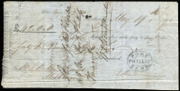 Lot 639 [1 of 3]:1842 Cheques: made out to Messr Watson & Hunter, Melbourne, [1] Union Bank of Australia, Melbourne 2/4/1842 for £64/19/-; [2] Port Phillip Bank 19/5/1842 for £42 (The Port Philip bank only operated between Jan 1840 and Jan 1843); [3] Bank of Australia, Sydney 30/6/1842 for £87/6/5d. (3)