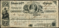 Lot 1127:1854 Bill of Exchange: from Adams & Co Australian Express for $600 in favour of Hannah Potter, usual creasing detracts little. A very attractive, with finely engraved Chalon Head within British Coat of Arms.