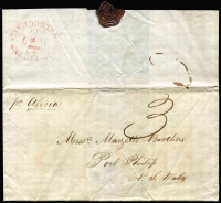 "Lot 1218 [1 of 2]:1842 (Dec 22) inwards entire from London to Melbourne, fine red oval 'SHIP LETTER/[crown]/JU*7/1843/MELBOURNE' arrival. Rated ""3"" in black. Presumably carried by hand to Melbourne, by the Captain of the Alicia; contents document the sales of 28 bales of wool for £320/8/-."