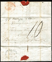"Lot 1103:1849 (Sep 29) inwards letter to Geelong from London. No London markings so carried by ship and posted on arrival in Melbourne on JA*10/1850, very fine oval 'GEELONG/[crown]/JA*11/1850/PORT PHILLIP' arrival. Rated ""10"" in black. This was a duplicate letter and the original arrived at the same time so endorsed ""1/8 postage 2 lets"" on face. Also endorsed ""Consignee"" and ""p 'Diadem'"". [Part of the ""cargo"" on the Diadem was 228 orphan emigrants.]"