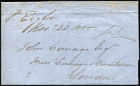 "Lot 625:1852 (Aug 30) consignee's letter from Melbourne to London, endorsed ""P Eagle"". This letter was privately carried and delivered in London by the Captain. [Correspondents with a financial interest in the cargo of a ship where allowed to send up to 6oz of letters free of charge.]"