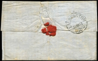 Lot 1038 [2 of 2]:1855 (Mar 29) outer from Melbourne to Hobart Town, with 1/- 2-margins tied by Barred Oval 1 and Melbourne Crown-Oval, red boxed Ship Letter Inwards (2AP/1855) arrival on face and Launceston (31MA/1855) backstamp.