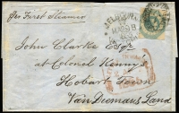 Lot 1038 [1 of 2]:1855 (Mar 29) outer from Melbourne to Hobart Town, with 1/- 2-margins tied by Barred Oval 1 and Melbourne Crown-Oval, red boxed Ship Letter Inwards (2AP/1855) arrival on face and Launceston (31MA/1855) backstamp.
