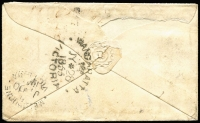 Lot 1279 [2 of 2]:1855 (Jul 28) small envelope with 6d Woodblock (4 good margins) cancelled with poor Barred Oval, good Wangaratta crown oval backstamp and fair Melbourne arrival of JY30/1855.