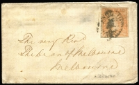Lot 1279 [1 of 2]:1855 (Jul 28) small envelope with 6d Woodblock (4 good margins) cancelled with poor Barred Oval, good Wangaratta crown oval backstamp and fair Melbourne arrival of JY30/1855.