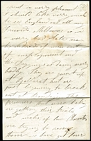 "Lot 1111 [3 of 3]:1855 (Jan 19) cover (stained at base) and letter from Melbourne to England with 3-margins 1/- Octagonal, rated ""6"" in black. The letter is from a policeman stationed at Keilor and was written only about 1 month after the troopers attacked the Eureka Stockade. It comments on the bad state of Melbourne & the Diggings and how the diggers refered to the police as Butchers after the attack."