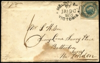 "Lot 1111 [1 of 3]:1855 (Jan 19) cover (stained at base) and letter from Melbourne to England with 3-margins 1/- Octagonal, rated ""6"" in black. The letter is from a policeman stationed at Keilor and was written only about 1 month after the troopers attacked the Eureka Stockade. It comments on the bad state of Melbourne & the Diggings and how the diggers refered to the police as Butchers after the attack."