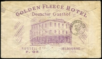 Lot 1340 [1 of 2]:1878 (Mar 20) use of 1/- Bell on Golden Fleece Hotel cover (fine full back advert) from Melbourne to France, endorsed Via Brindisi, underpaid by ½d hence red boxed 'IN[SUFFIC]IENTLY PAID/VIA [BR]