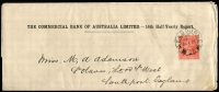 Lot 913 [1 of 2]:1897-1900 Commercial Bank of Australia half-yearly report wrapper x2, both from Melbourne to England; 1897 with 1d brown, opened through face & 1901 with 1d red. (2)