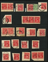 Lot 345 [2 of 4]:Mostly Datestamp Cancels on Roos & KGV Heads: predominantly Melbourne number code datestamps on Roos to 1/- (including 'OS' perfins) and KGV 1d reds plus other values to 5d, plus duplex cancels on KGV 1d reds & a few TPOs; also South Australia squared-circle cancels on KGV 1d reds and NSW Sydney datestamps. Lots of very fine strikes. (100s)