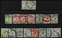 Lot 345 [1 of 4]:Mostly Datestamp Cancels on Roos & KGV Heads: predominantly Melbourne number code datestamps on Roos to 1/- (including 'OS' perfins) and KGV 1d reds plus other values to 5d, plus duplex cancels on KGV 1d reds & a few TPOs; also South Australia squared-circle cancels on KGV 1d reds and NSW Sydney datestamps. Lots of very fine strikes. (100s)