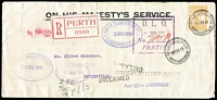Lot 1387:Leederville: blue double-oval 'POST & TELEGRAPH OFFICE/3MAR1916/LEEDERVILLE, W.A.' on face of registered unclaimed cover from Perth with 4d Roo perf large 'OS', violet straight-line 'Post Office LEDDERVILLE' also on face.  PO 11/9/1897.