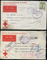 Lot 299 [1 of 8]:Range with WWII including Red Cross Prisoner of War envelope airmail to Germany with 1/- Lyrebird plus three to Malayan POWs, Forces in Australia with variety of unit cachets, 'MIL PO' postmarks and service organisation imprints, a few illustrated covers, also groups from Egypt, Malaya noted 'POSTAGE PAID/25 CENTS/JOHORE' x4 and '.../MALAYA' x3, New Guinea, then BCOF Japan including overprints, Registration cachets, Australian FPO cancels on GB and NZ stamps, plus a couple from Vietnam, condition mixed, many fine.