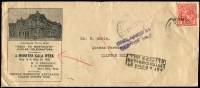Lot 532 [1 of 2]:1933 (May 8) use of 2d red KGV on fine Back to Northcote illustrated cover, violet 'UNCLAIMED AT/CLIFTION HILL' (C1) and boxed 'NOT KNOWN BY/LETTER CARRIERS/CLIFTON HILL' (B1) both on face.
