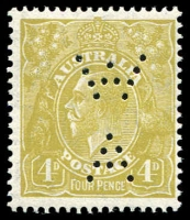 Lot 738 [3 of 4]:Mint Varieties 2d red-brown Die I Large white flaw in left value tablet (97(16)f cat $150), rubbing on face from attempting to remove CTO cancel, mint 4d violet White flaw on curve of roo's hip, mint 4d olive SMW P13½x12½ Kangaroo's tongue out (116(4)e cat $120) perf 'WA'. (3)