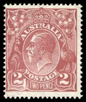 Lot 738 [1 of 4]:Mint Varieties 2d red-brown Die I Large white flaw in left value tablet (97(16)f cat $150), rubbing on face from attempting to remove CTO cancel, mint 4d violet White flaw on curve of roo's hip, mint 4d olive SMW P13½x12½ Kangaroo's tongue out (116(4)e cat $120) perf 'WA'. (3)