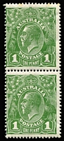 Lot 603 [1 of 2]:1d Green vertical pair with Ferns and RA joined, BW #80(4)i,j, top unit couple of tone perfs, bottom unit MUH, Cat $250++.