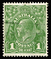 Lot 600 [1 of 2]:1d Green Watermark Inverted with Flaw under neck - State II retouched, BW #80a(4)ha, VFU, Cat $150+. A rare combination flaw.
