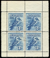 Lot 302:1928 3d Kookaburra Miniature Sheet with light fine central 27½mm 'G.P.O/24MR31/MELBOURNE' cancel, MNG, a very rare CTO, this being the 3rd example known to us.