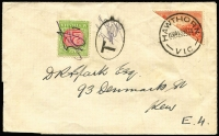 Lot 747:1934 Victoria Centenary 2d vermilion unauthorised bisect on philatelic cover from Hawthorn to Kew, fine Hawthorn cancel, taxed 2d and 2d PDue applied to face. The fact that the tax was only 2d rather than 4d implies that the bisect was accepted as valid for 1d postage. Most unusual.