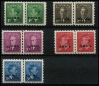 Lot 1032 [2 of 2]:1949-50 'O.H.M.S.': complete set in pairs. SG #O172-77. (6 prs)