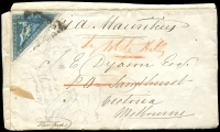 Lot 12 [2 of 11]:Cape of Good Hope 1860s group of fronts with 4d Triangles x4 (& 2 on piece) & 4d Seated Hope x2. All addressed to Bendigo or White Hills, Victoria. Condition is mixed. (9 items)