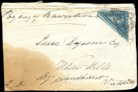 Lot 12 [4 of 11]:Cape of Good Hope 1860s group of fronts with 4d Triangles x4 (& 2 on piece) & 4d Seated Hope x2. All addressed to Bendigo or White Hills, Victoria. Condition is mixed. (9 items)