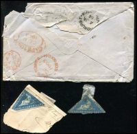 Lot 12 [5 of 11]:Cape of Good Hope 1860s group of fronts with 4d Triangles x4 (& 2 on piece) & 4d Seated Hope x2. All addressed to Bendigo or White Hills, Victoria. Condition is mixed. (9 items)