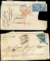 Lot 12 [6 of 11]:Cape of Good Hope 1860s group of fronts with 4d Triangles x4 (& 2 on piece) & 4d Seated Hope x2. All addressed to Bendigo or White Hills, Victoria. Condition is mixed. (9 items)