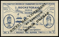 Lot 1482 [2 of 2]:1935 Rocket Mail (Apr 10) Silver Jubilee Rocketgram cover with blue label ovpt 'ROCKET MAIL EXPERIMENT/.../SIKKIM DURBAR', no stamps, 'OVER RIVER/RANAKHALI' handstamp etc. Plus unused label, both signed Stephen H Smith. (2 items)