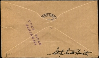 Lot 1480 [2 of 3]:1935 Rocket Mail (Apr 10) Silver Jubilee Rocketgram cover with red label ovpt 'ROCKET MAIL EXPERIMENT/.../SIKKIM DURBAR', no stamps, 'OVER RIVER/RANAKHALI' handstamp etc. Plus unused label, both signed Stephen H Smith. (2 items)