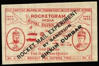 Lot 1480 [3 of 3]:1935 Rocket Mail (Apr 10) Silver Jubilee Rocketgram cover with red label ovpt 'ROCKET MAIL EXPERIMENT/.../SIKKIM DURBAR', no stamps, 'OVER RIVER/RANAKHALI' handstamp etc. Plus unused label, both signed Stephen H Smith. (2 items)