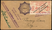 Lot 1480 [1 of 3]:1935 Rocket Mail (Apr 10) Silver Jubilee Rocketgram cover with red label ovpt 'ROCKET MAIL EXPERIMENT/.../SIKKIM DURBAR', no stamps, 'OVER RIVER/RANAKHALI' handstamp etc. Plus unused label, both signed Stephen H Smith. (2 items)