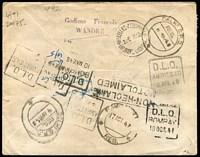 Lot 1524 [2 of 2]:1947 Belgium - Delhi (Sep 15) special registered cover with Belgium 25c & 8f50 Sabena, many cancels on back incl DLOs from Bombay & Amritsar, small faults.