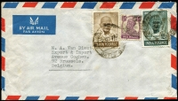 Lot 1853:1948 air cover to Belgium with Ghandi 1½a & 12a and ½a KGVI.