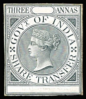Lot 1059 [1 of 2]:1863 Share Transfer: 2a & 3a die proofs in black on thick card. (2)