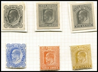 Lot 1411:1902-11 KEVII photographic proofs of 1a6p, 3a & 6a with the issued stamps.