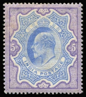 Lot 1412:1902-11 KEVII 5r ultramarine & deep lilac, SG #143, small gum faults, Cat £300.