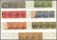 Lot 1413 [2 of 2]:1911-23 KGV Wmk Star 'CANCELLED' handstamp on mint strips of 4, 3p, ½a, 1a, 1a6p, 3a, 4a, 6a & 12a, ½a, 2a6p & 3a strips of 3, 3p fancy cancel in chamfered box, some aging and odd gum faults, mainly MUH, unusual. (8 strips)