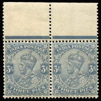 Lot 1415:1911-23 KGV Wmk Star 3p slate with Rs flaw in marginal pair, SG #154a, lightly toned gum, hinged in margin only, Cat £38++.